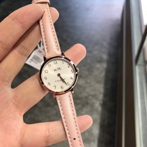 Coach small face pink leather strap watch